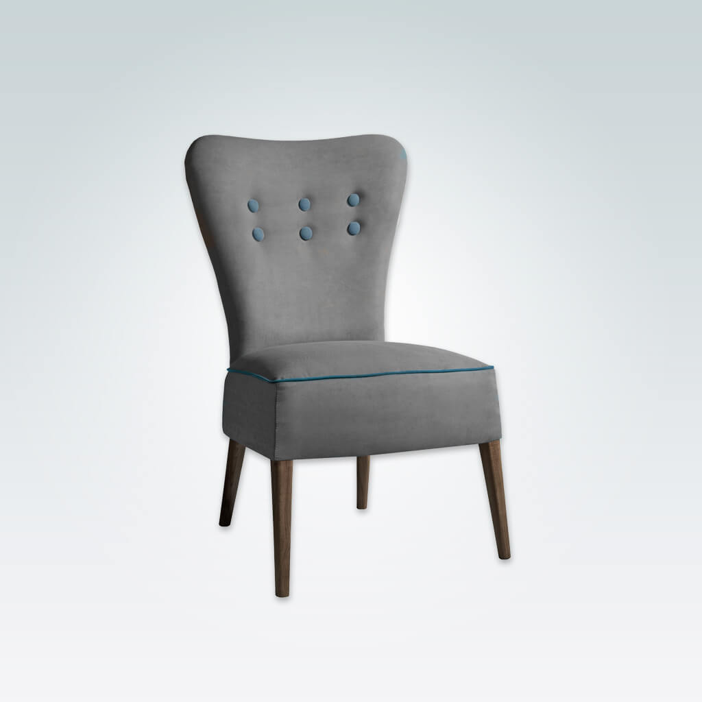 Piani Grey Upholstered Chair with Deep Upholstered Seat and Button Detail 3037 RC1