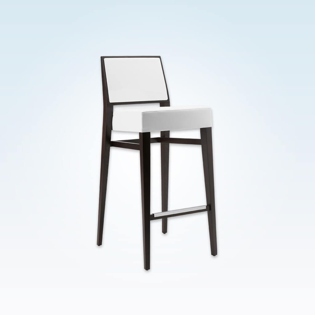 Timberly white and black bar stool with deep padded cushion and square backrest. Tapered wooden legs and a metal trimmed kick plate 6048 BR1