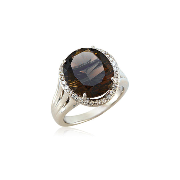 Lago Collection Rich Chocolate Quartz and Diamond Ring