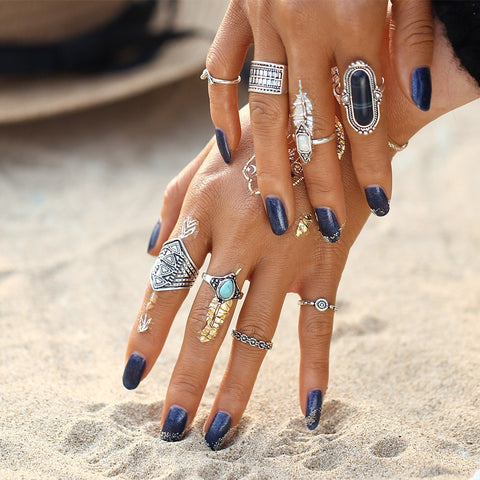 Tibetan Antique Bohemian Ring Set-rings-Moonlight Gypsy