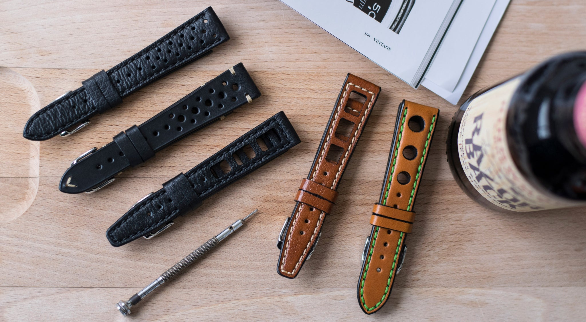 Racing leather watch straps