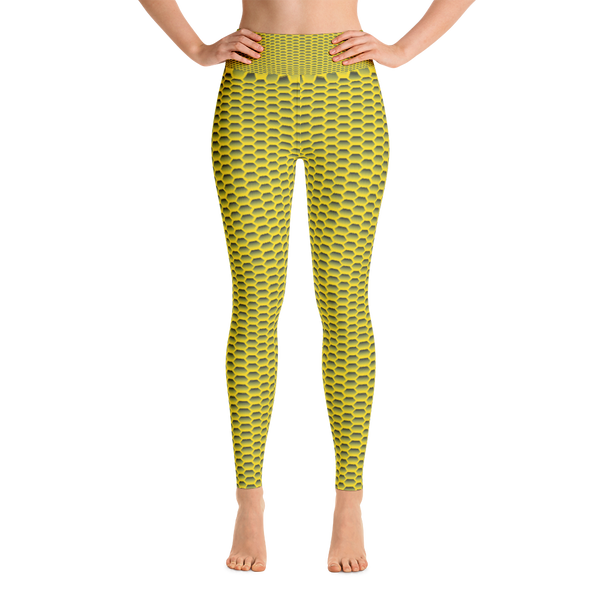 Yoga Leggings / Yellow Honeycom - ZBAZAAR