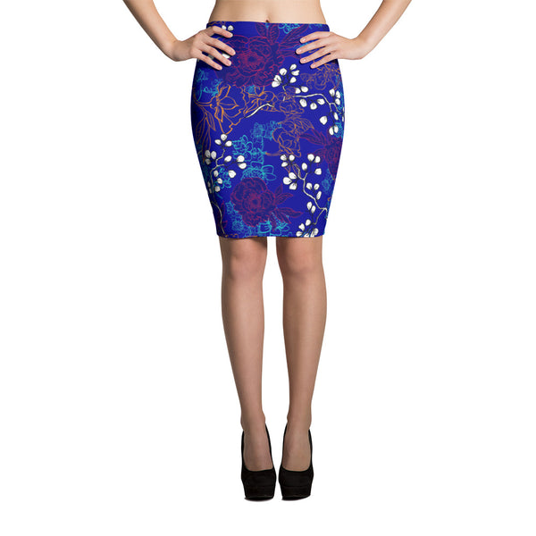 Blue Spring Pencil Skirt - ZBAZAAR