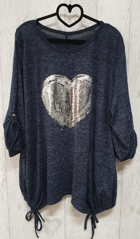 Sequin Heart Slouchy Top