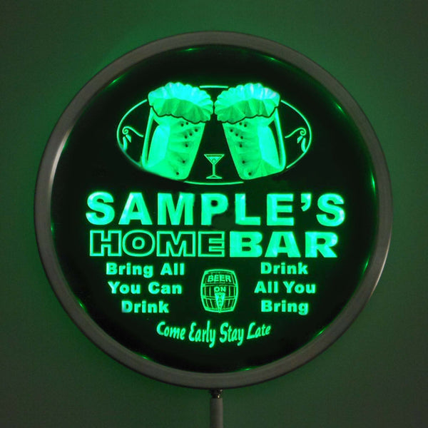 "Color Changing Personalized Round LED Home Bar Sign - 10"" Diameter - Remote Control Beer Signs - The Beer Lodge"