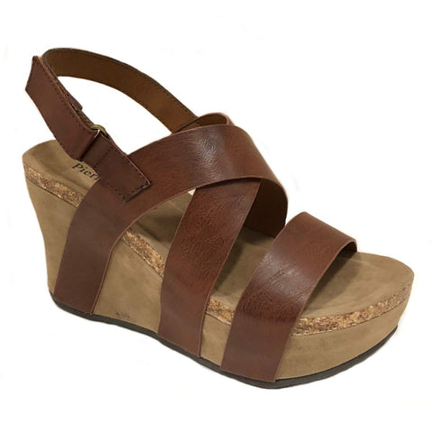 Pierre Dumas Women's Hester-5 Vegan Leather Strappy Wedge Sandals
