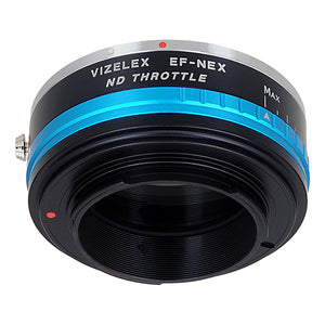 Vizelex ND Throttle Lens Mount Adapter - Olympus Zuiko (OM) 35mm SLR Lens to Sony Alpha E-Mount Mirrorless Camera Body with Built-In Variable ND Filter (1 to 8 Stops)