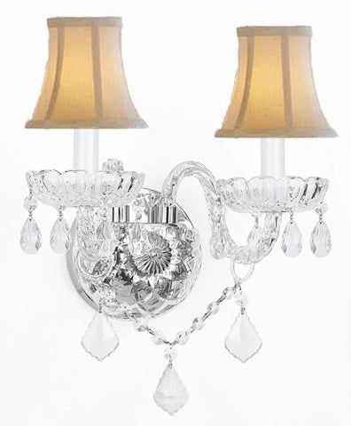 Murano Venetian Style Crystal Wall Sconce Lighting With White Shades - G46-Whiteshades/B12/2/386