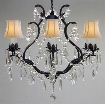 "Swarovski Crystal Trimmed Chandelier Wrought Iron Crystal Chandelier Lighting H 19"" W 20"" - With White Shades - A83-Whiteshades/3530/6 Sw"