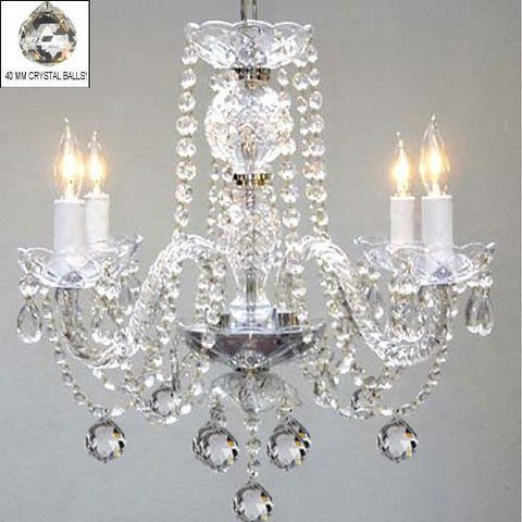 "Murano Venetian Style All Crystal Chandelier H17"" X W17"" Swag Plug In-Chandelier W/ 14' Feet Of Hanging Chain And Wire - A46-B15/B6/275/4"