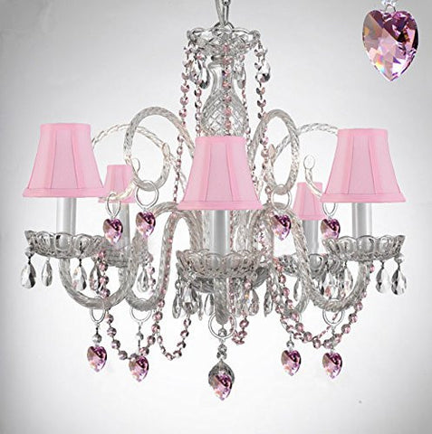 Empress Crystal (Tm) Chandelier Lighting With Pink Color Crystal And Pink Shades - A46-B41/Sc/385/5-Pink Shades
