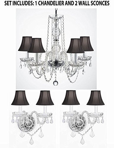 Three Piece Lighting Set - New Authentic All Crystal Murano Venetian Style Empress Crystal Chandelier And 2 Wall Sconces With Black Shades - 1Ea 384/5 + 2Ea 2/386Blackshades