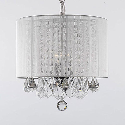 "Crystal Chandelier With Large White Shade H15"" X W15"" - A9-White/604/3 Gtc"