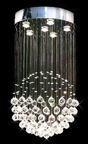 "Modern Contemporary Chandelier ""Rain Drop"" Chandeliers Lighting With Crystal Balls H32"" X W18"" - A93-Silver/Md9342/6"
