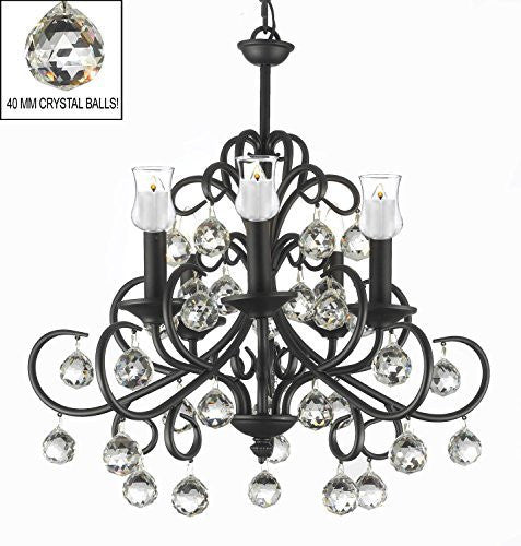 "Bellora Crystal Wrought Iron Chandelier Lighting Empress Crystal (Tm) With Faceted Crystal Balls And Votive Candles H 22"" W 20"" - Hang From Trees / Gazebo / Pergola / Porch / Patio / Tent - A7-B31/586/5"
