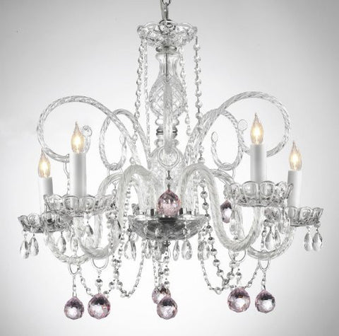 Crystal Chandelier Lighting With Pink Crystal Balls - A46-B3/385/5 - Pink Balls