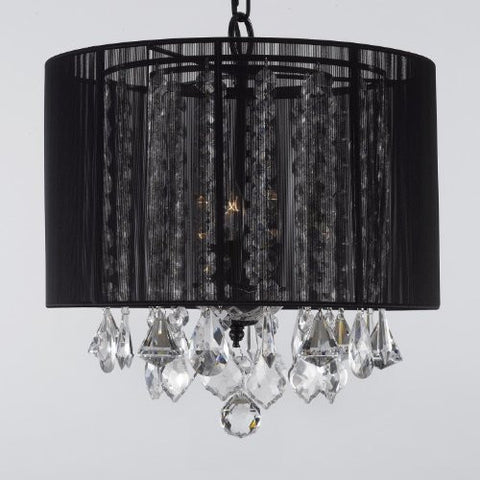 "Crystal Chandelier With Large Black Shade H15"" X W15"" - G7-Black/604/3"