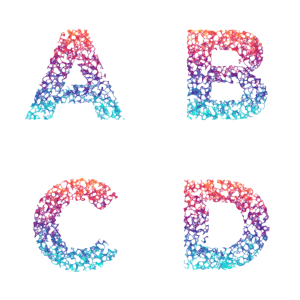 Wires Balanced Rainbow - Generative Lettering