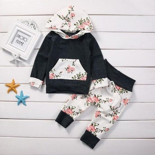 Floral Toddler Hoodie Pants Combo - Zacca store