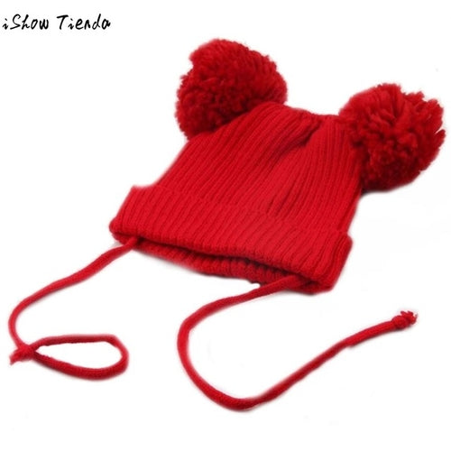 Winter Hats For Kids Cute Baby Dual Hairball Warm - Zacca store