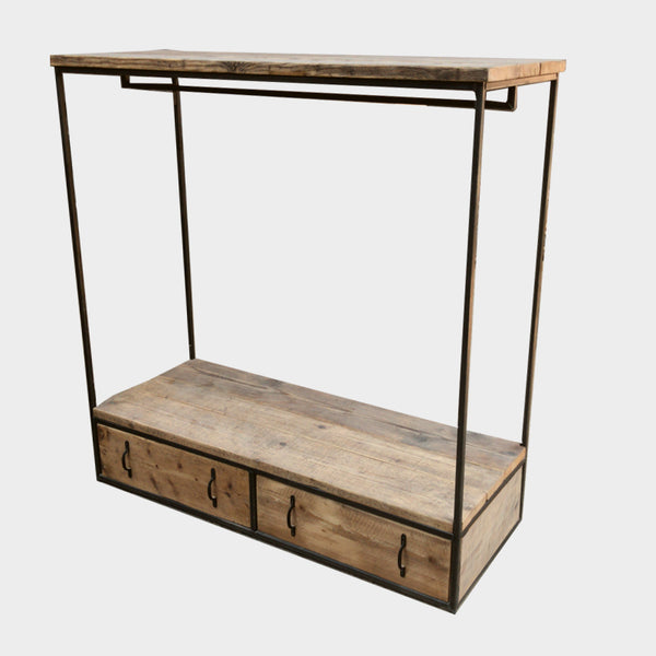 Clothes / Display Rail with Storage Drawers- Industrial Rustic Reclaimed Style