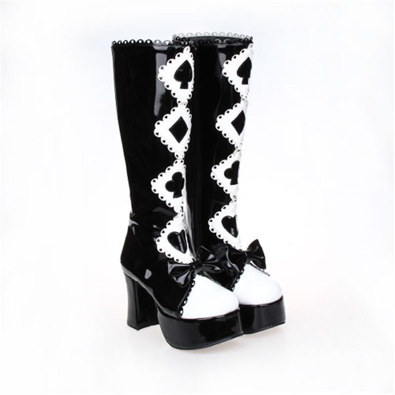 Alice in Wonderland Black and White Lolita Boots-Black-5-