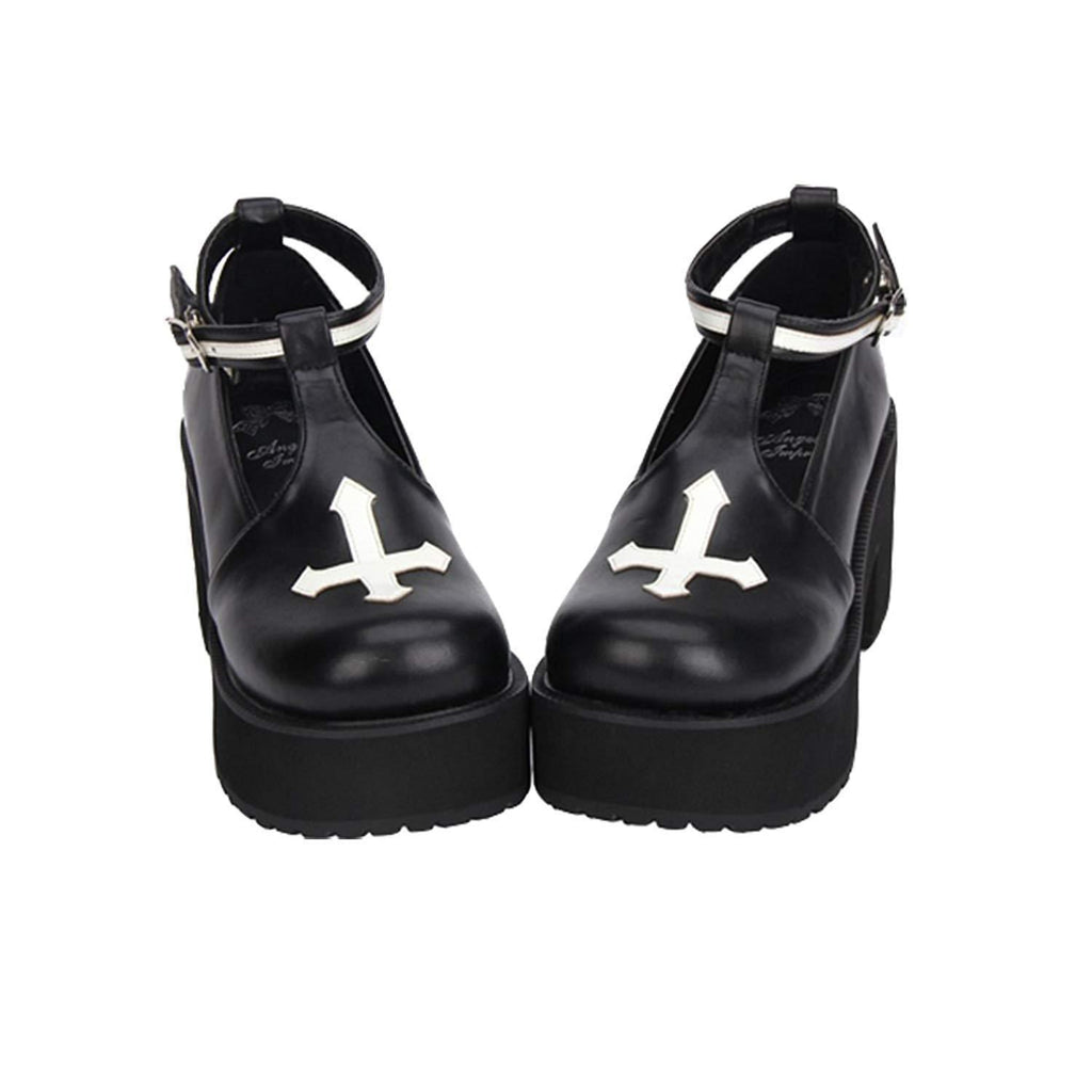 Black and White Cross Gothic Lolita Shoes-Black-5-