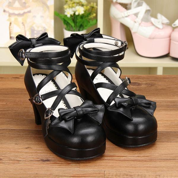 Black Bow Lolita Shoes For Women-Black-5-