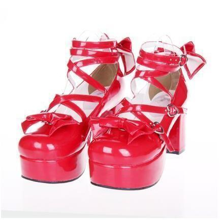 Black Bow Lolita Shoes For Women-Red 2-5-