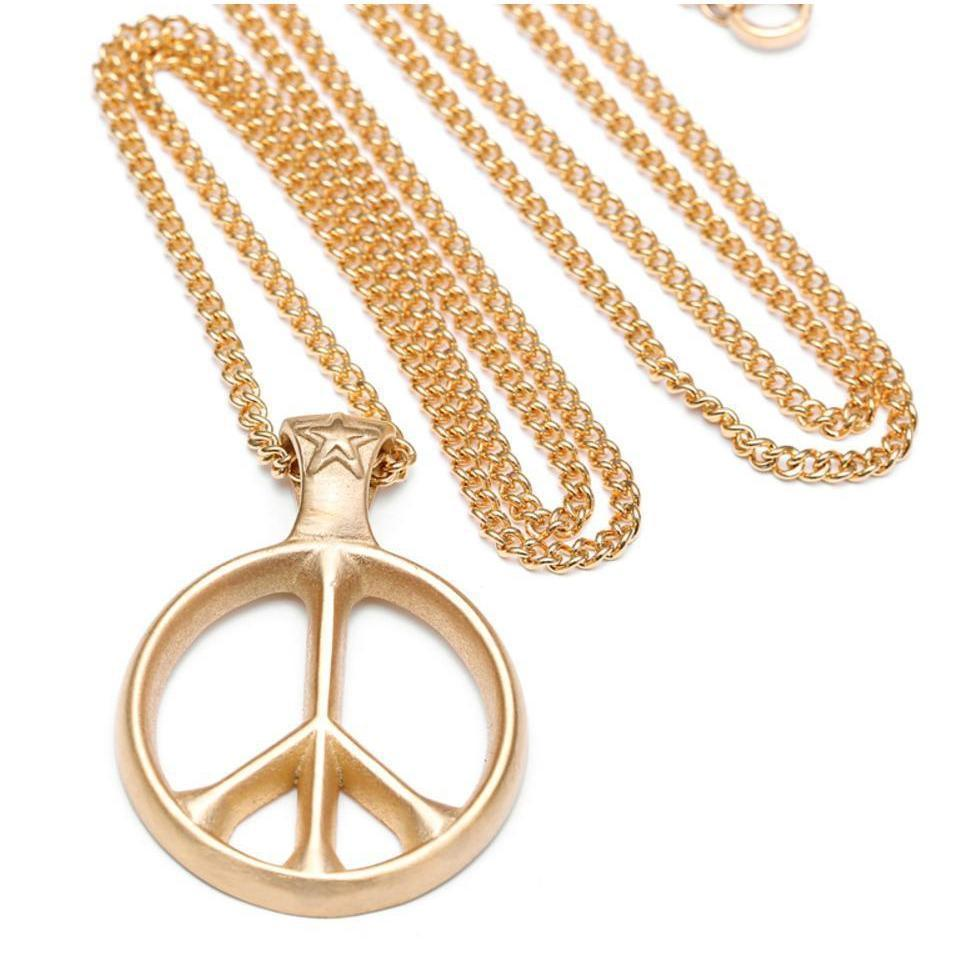 Cool Men & Women's World Peace Titanium Pendant-Gold-