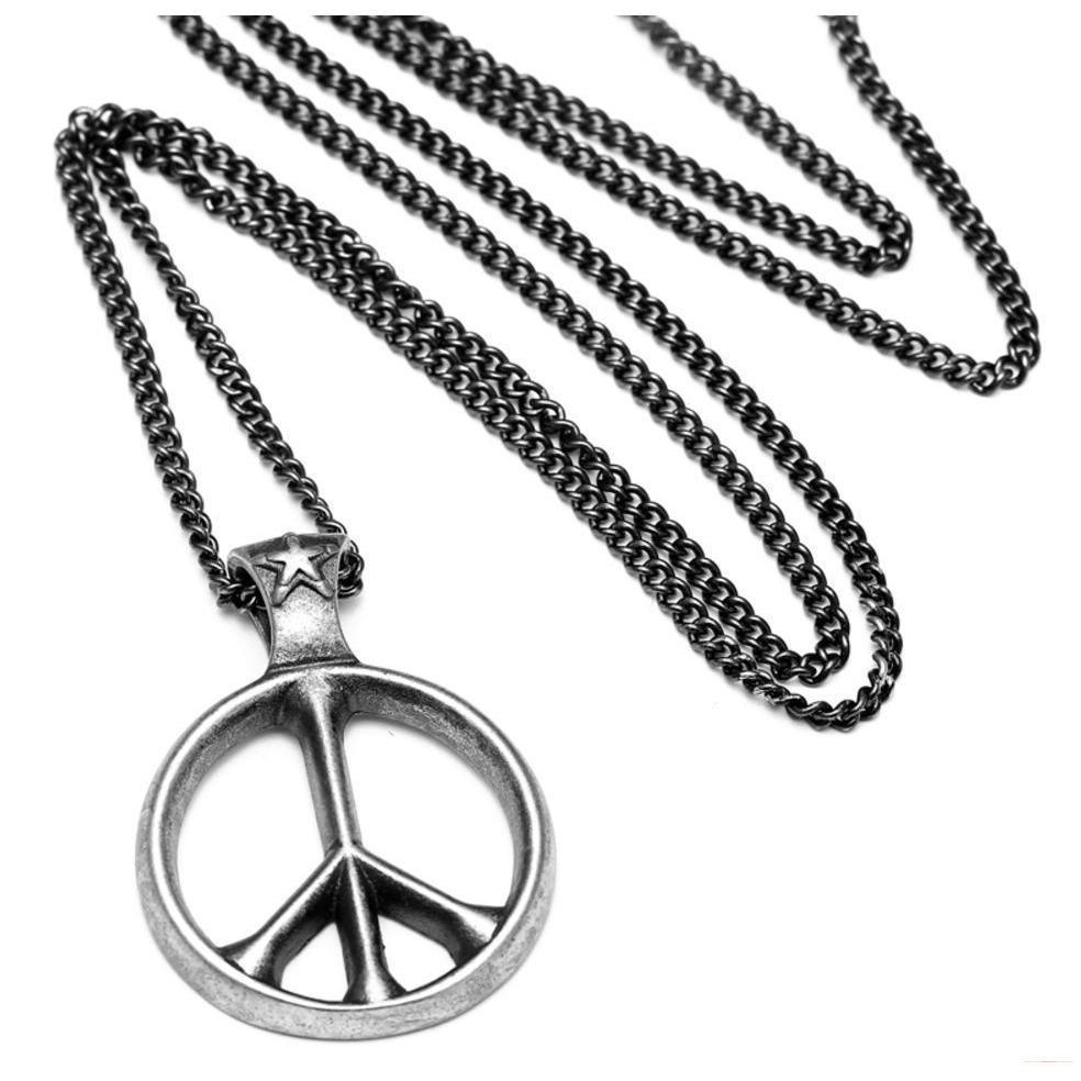Cool Men & Women's World Peace Titanium Pendant-Silver-