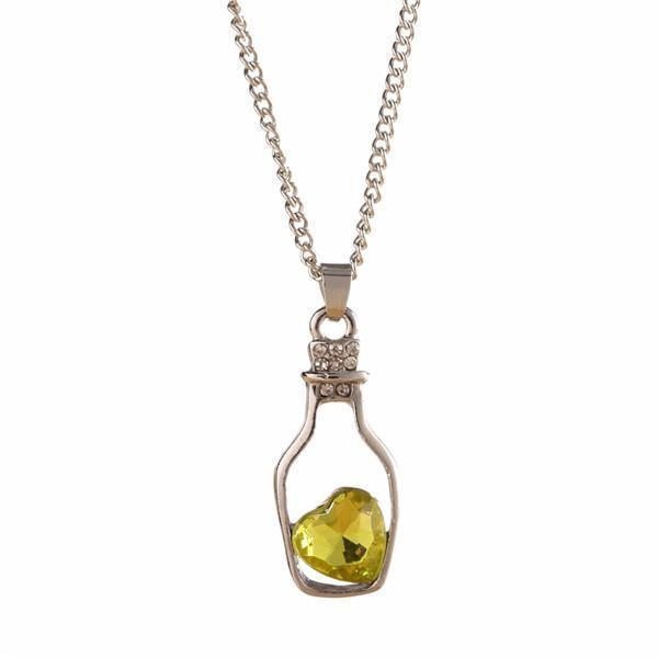 Crystal Bottle Chain For Women-Light Yellow-