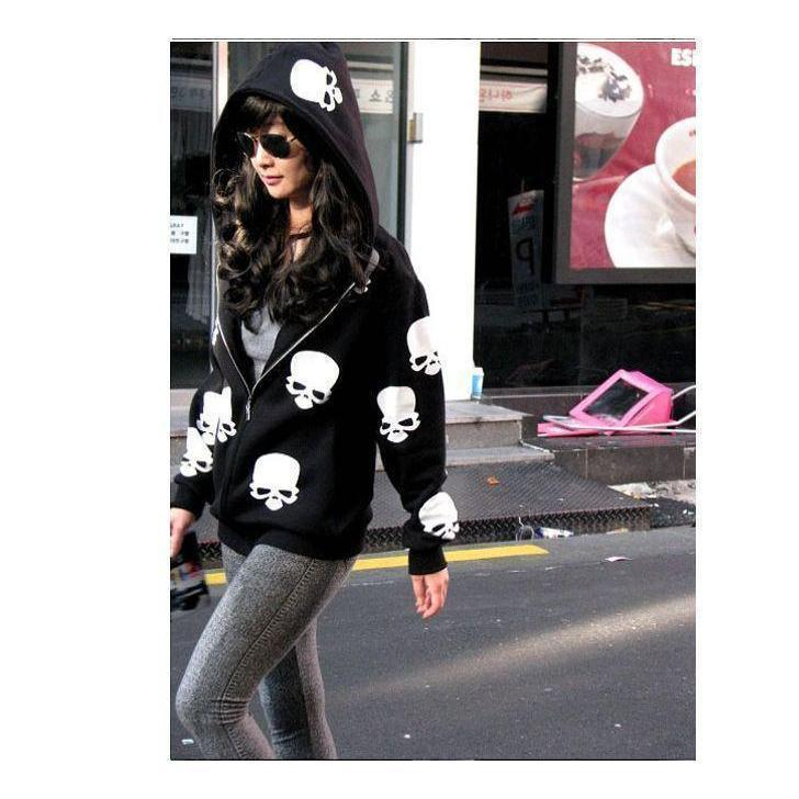 Cute Emo Skeleton Face Hoodies-Black-M-