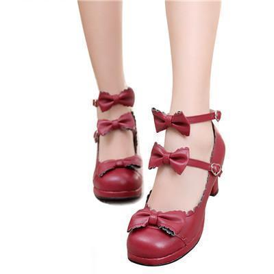 Cute Girls Double Bowtie High Heel Lolita Shoes-Red-4-