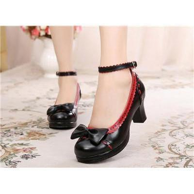 Cute Girls Lolita Bow Faux Leather High Heel Shoes-Black And Red-4.5-