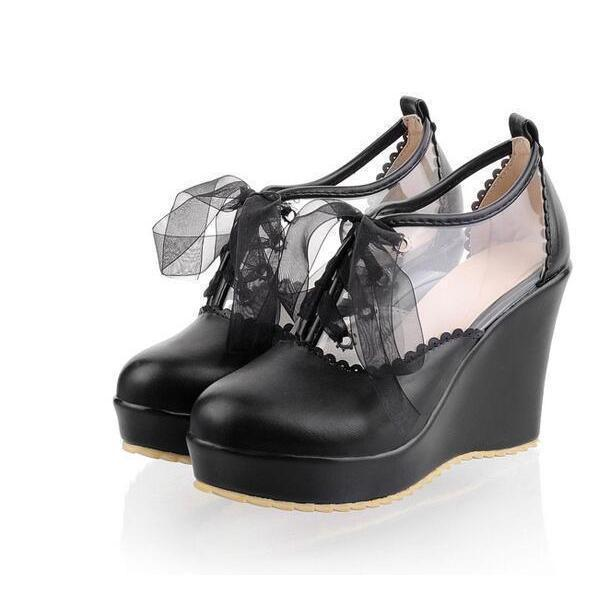 Cute Lace Up Leather Lolita Wedges-Black-5-