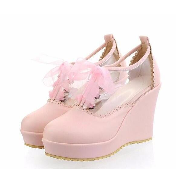 Cute Lace Up Leather Lolita Wedges-Pink-5-
