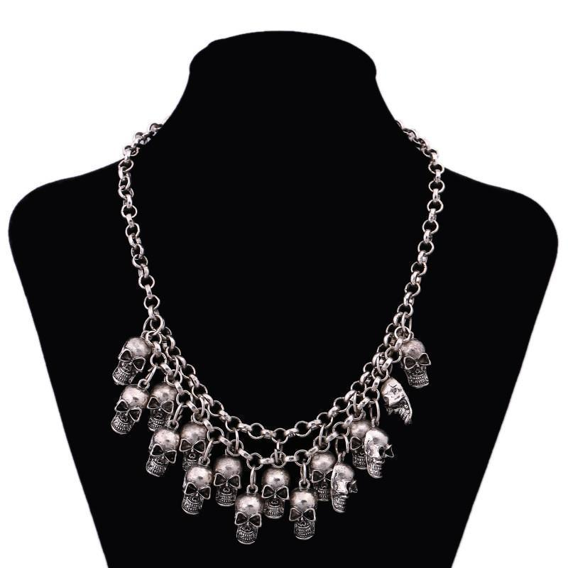 Gold & Stainless Steel Hanging Head Voodoo Chokers-Antique Silver-