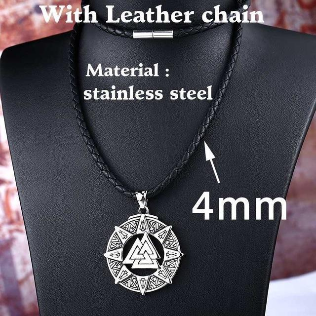 Kickass Norse God Amulet Chain-Leather Chain-55cm-