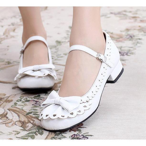 Ladies Vintage Style Bowtie Low Heel Shoes-White-4-