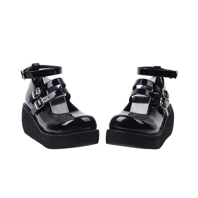 Lolita Girls Gothic Leather Wedge Shoes-Black-5-