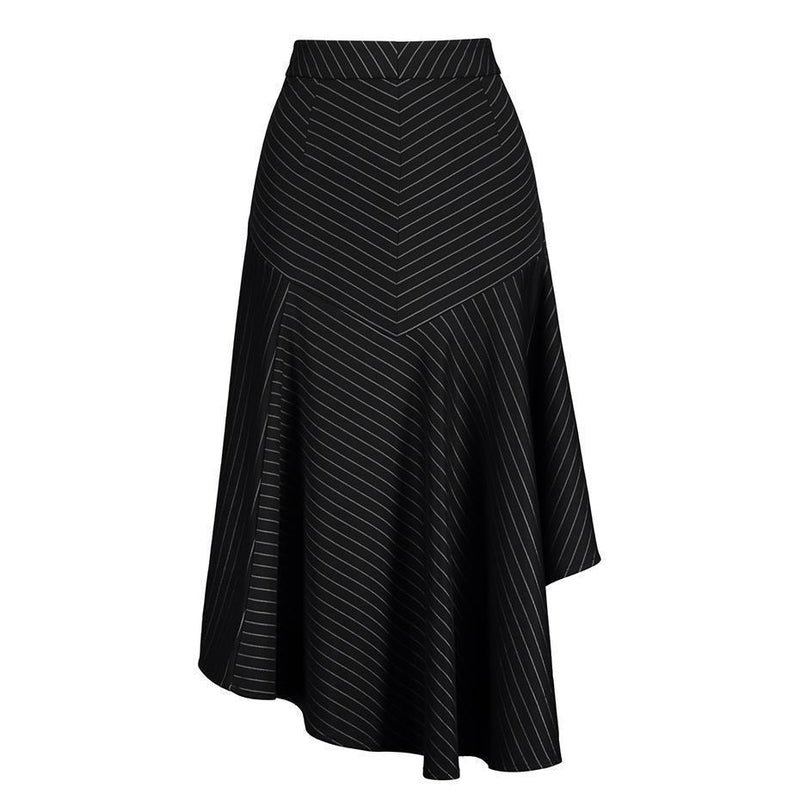 Long Striped Office Lady Skirts-Black-S-