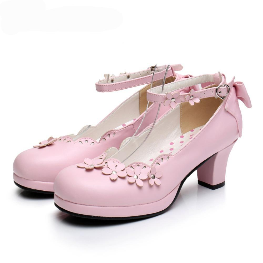 Pink Floral Low Heel Pastel Goth Shoes-Pink-5-