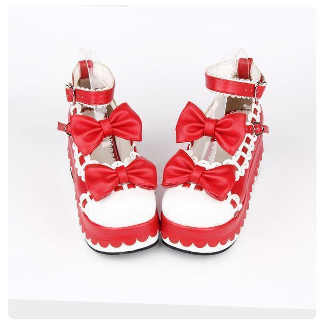 Princess Bow Wedge Lolita Heel Shoes-Red-6-