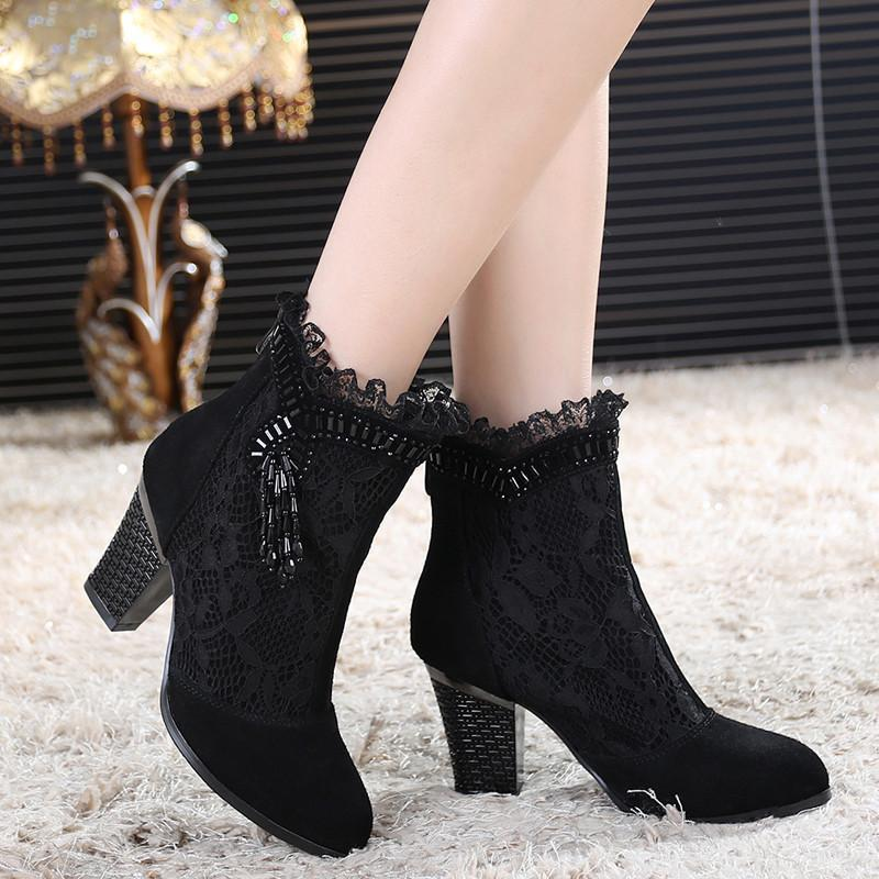 Sexy Punk Lacey Heel Shoes For Women-Black-5-