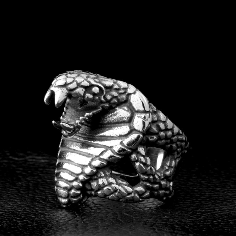 Stainless Steel Cobra Snake Punk Ring-7-silver colour-