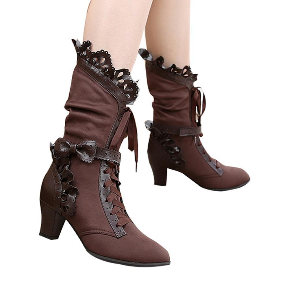 Stunning Ruffle Lace Up Bow Lolita Boots-Brown-6-