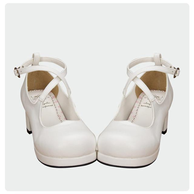 Sweet-Heart Criss Cross Ankle Strap Lolita Shoes-White-5-