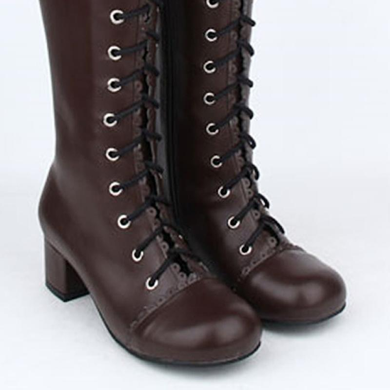 Tall Vintage High Heel Lace Up Lolita Boots-Brown-5-