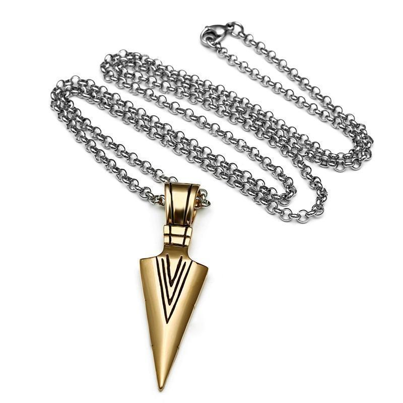 Unisex Triangular Spearhead Necklaces-Gold-